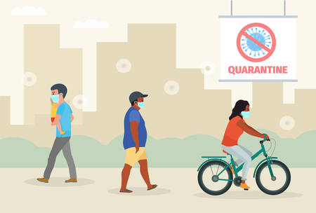 Coronavirus epidemic. People characters wearing protective face masks on street in city vector illustration.