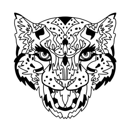 Design for your T-shirt Pattern for coloring book. Hand drawn line art of panther. For tattoo art, set.