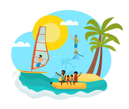 Summer concept vector flat cartoon illustration. Family vacation. Template for poster, banner, card.