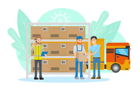 Logistics warehouse with manager and client. Flat design concept. Vector cartoon illustration