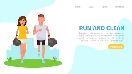 Plogging landing concept vector flat cartoon illustration with a runners. Cleaning garbage marathon or plogging eco challenge presentation, web page or banner template Иллюстрация