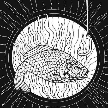 Coloring Book for adult. Colouring picture with fish drawn in style. Antistress freehand sketch drawing. illustration. Coloring Page. Фото со стока