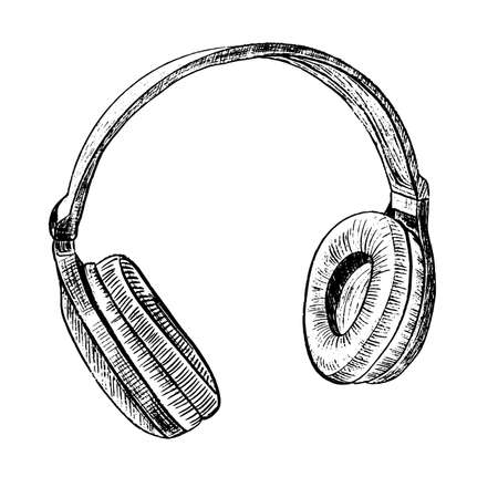 Vector illustration for posters, decoration and print. Hand drawn sketch of headphones in monochrome isolated on white background. Detailed vintage woodcut style drawing.