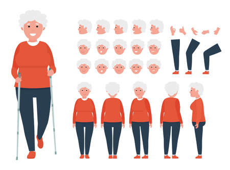 Front, side, back view animated character. Elderly woman character creation set with various views. Cartoon flat vector Иллюстрация