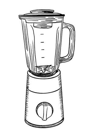 Sketchy electric blender. Hand drawn sketch of blender in monochrome isolated on white background. Иллюстрация