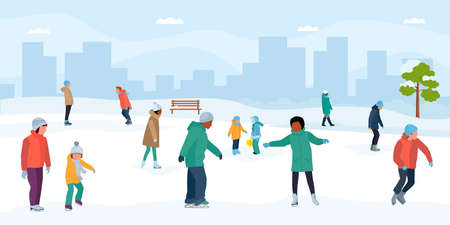 Ice skaters having fun in park. Crowd of people at the rink. Vector flat cartoon illustration.
