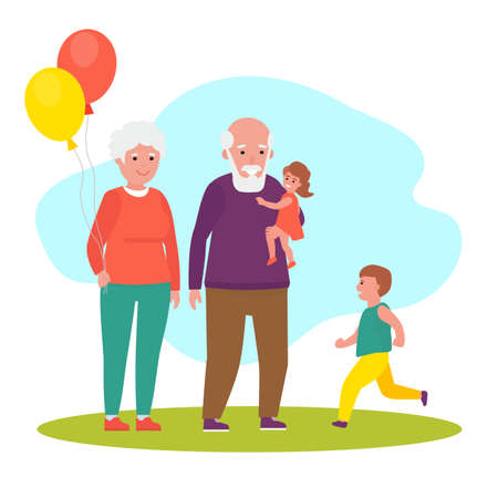 Grandparents and grandson together in park. Vector flat