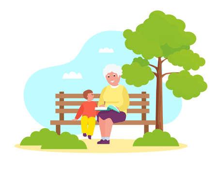 Grandmother reading to grandson in the park. Иллюстрация