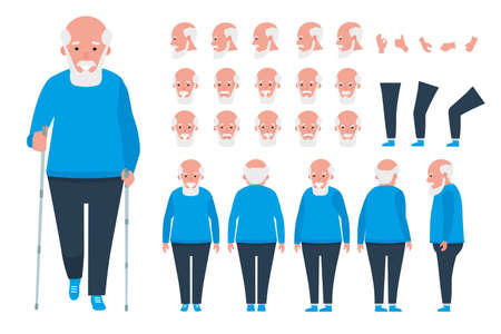 Old man character constructor, creation set. Different grandfather postures, hairstyle, face, legs, hands, clothes, accessories. Vector cartoon illustration.