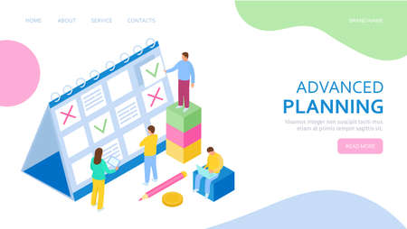 Isometric concept of Planning for banner and website. Landing page template. Team of businessmen are constructing business plan. Иллюстрация