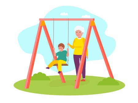 Happy Grandson Kid Having Fun On Swing With Grandmother. Vector flat cartoon illustration.