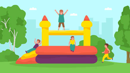 Cartoon happy kids jumping on trampoline. Active childrens outdoors games. Colorful vector flat illustration. Иллюстрация