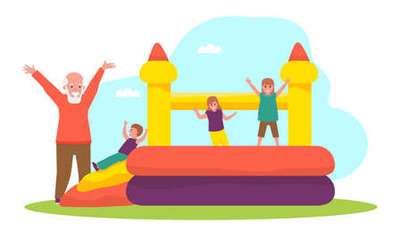 Grandson and grandfather having fun at the playground. Vector flat cartoon illustration.