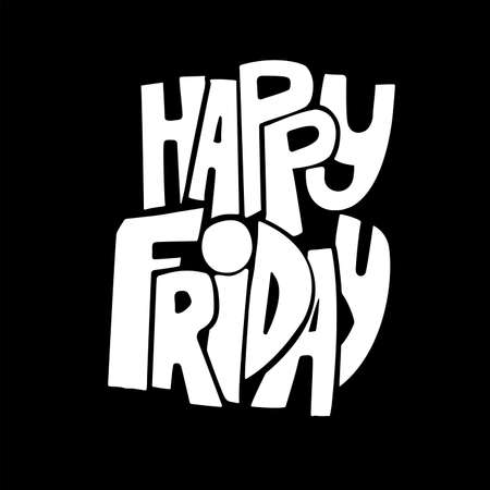 positive note: Happy friday. Inspirational and motivational quotes. Hand painted brush lettering. Hand lettering and custom typography for your designs: t-shirts, for posters, cards, etc.