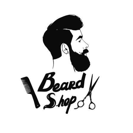 scissors comb: Hipster Barber shop icon. Beard, scissors, comb. Illustration