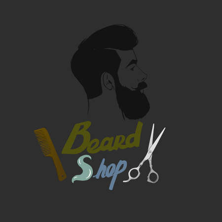 scissors comb: Vector hipster Barber shop icon. Beard, scissors, comb.