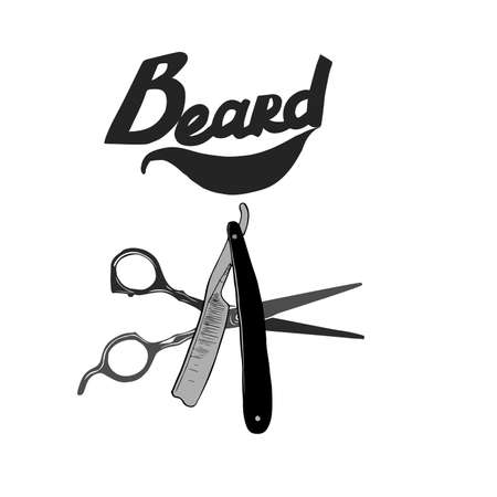 barber scissors: Hipster Barber shop icon. Beard, scissors, razor. Illustration