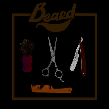 shaving brush: Hand drawn illustration set of Barber materials, isolated on a background. Hipster Barber shop icon. Beard, scissors, comb ,razor, shaving brush.