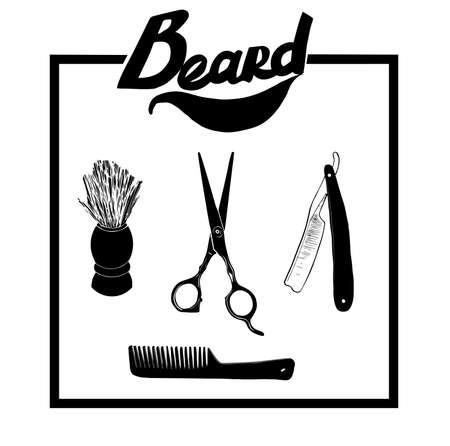 scissors comb: Hand drawn illustration set of Barber materials, isolated on a background. Vector hipster Barber shop, icon. Beard, scissors, comb ,razor, shaving brush. Illustration