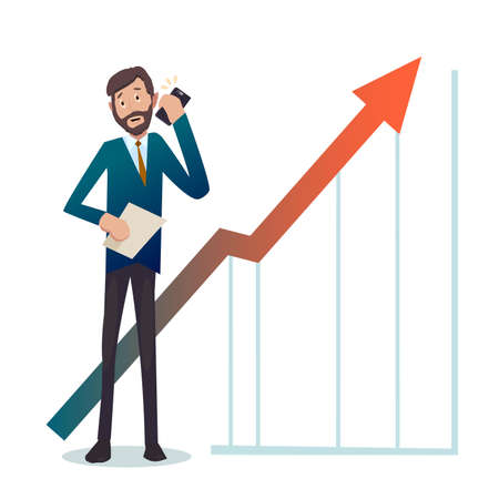 good news: Businessman.Businessman receives good news over the phone.The profit more and more. vector.