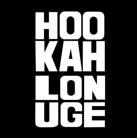 bar lounge: Hookah lounge Hand painted brush lettering. Hand lettering and custom typography for your  lounge cafe emblem. Arabian bar or house, shop. Isolated vector illustration. Illustration