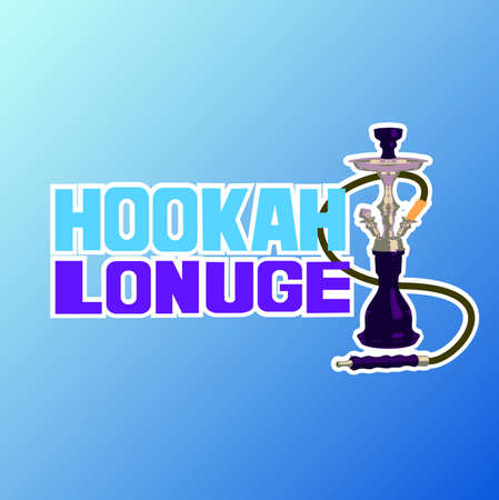 cigar label: Hookah lounge Hand painted brush lettering. Hand lettering and custom typography for your  lounge cafe emblem. Arabian bar or house, shop. Isolated vector illustration. Illustration
