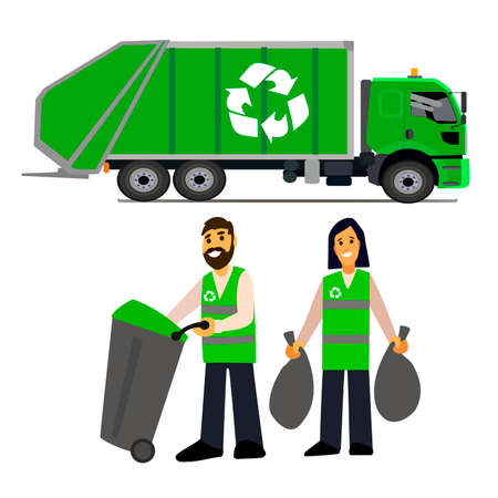 garbage collection: garbage collection. Garbage truck  and garbage men isolated on white background.waste disposal.waste management concept illustration.
