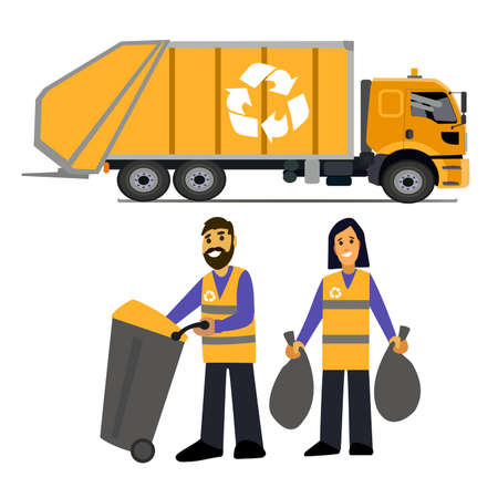 garbage collection. Garbage truck  and garbage men isolated on white background.waste disposal.waste management concept illustration.