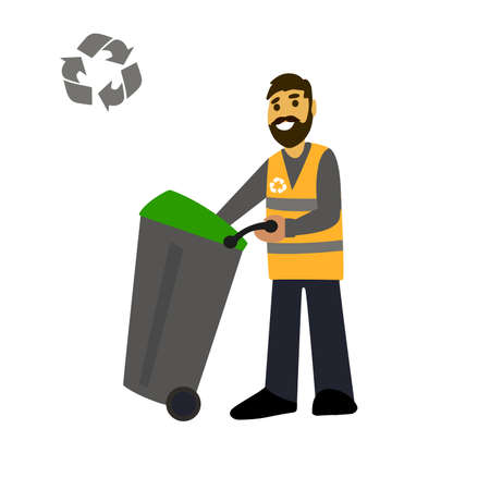 recolector de basura: garbage collection. Garbage truck  and garbage men isolated on white background.waste disposal.waste management concept illustration.