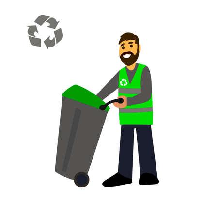 가비지 컬렉션. 흰색 배경에 고립 된 쓰레기 트럭 및 쓰레기 남자. 폐기물 처분입니다. 폐기물 관리 개념 그림입니다.
