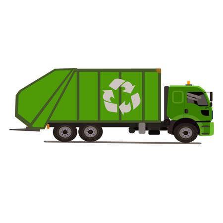 recolector de basura: cami�n de la basura con el logotipo de la basket.Isolated sobre fondo blanco. Ilustraci�n del vector. Vectores