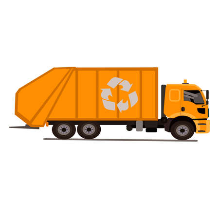municipal utilities: Garbage truck with the basket.