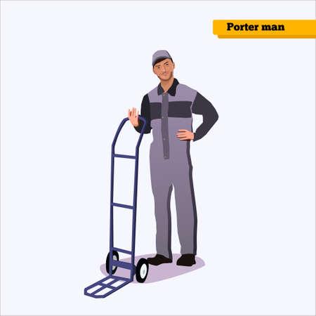 ブルーの白の背景に制服ポーター man.porter