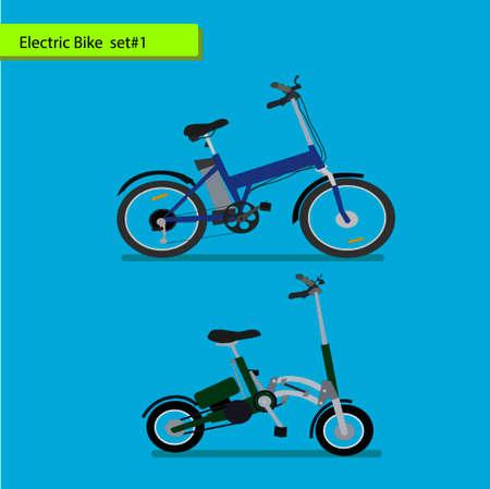 Het verzamelen van elektrische fietsen. vector illustratie op blauwe achtergrond. Vector Illustratie