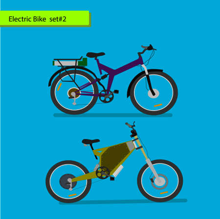 inexpensive: Collection of electric bikes . vector illustration on blue background.