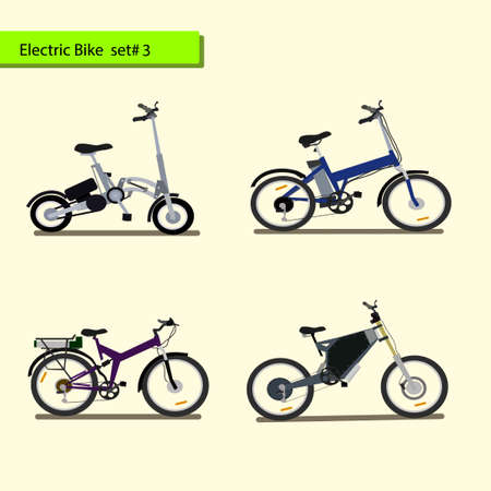 Collection of electric bikes . vector illustration On a white background.