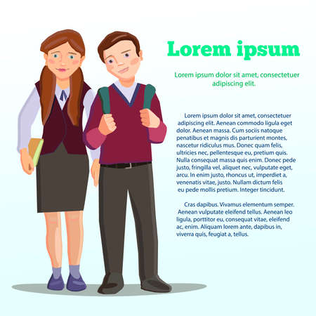 high school student: Vecto. High school student. brown schoolboys in a school uniform with a school backpack. Modern flat design