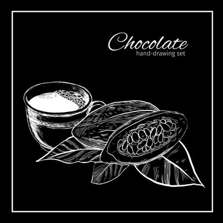 etch: Background with Cocoa bean and leaf. Hand drawn sketch etch illustration. Illustration