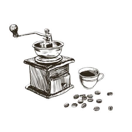 Sketch coffee branch set.Hand drawn vintage illustrations.