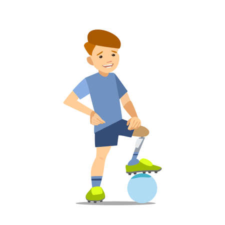 invalidity: athlete child on the prosthesis with a soccer ball. Vector illustration flat design.