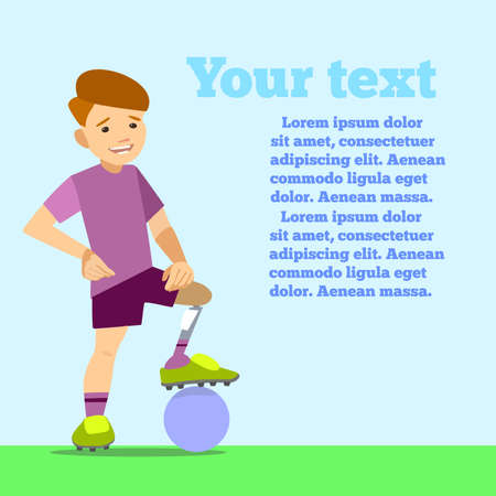 athlete child on the prosthesis with a soccer ball. Vector illustration flat design. Vektoros illusztráció