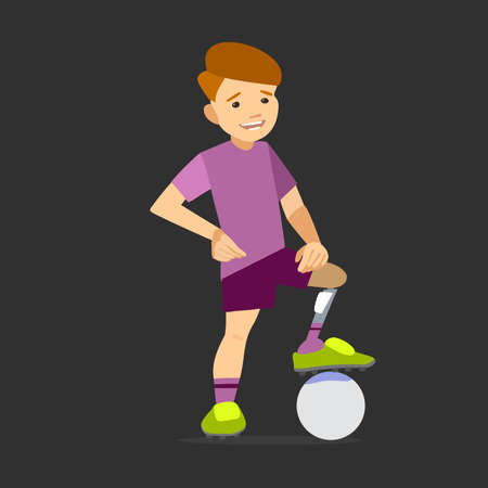 prosthesis: athlete child on the prosthesis with a soccer ball. Vector illustration flat design.