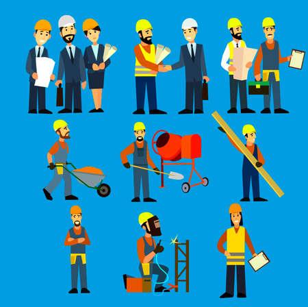 건설 엔지니어링 산업 노동자 프로젝트 매니저 벡터. 토목 엔지니어, 건축가, 건설 노동자 문자 그룹입니다.