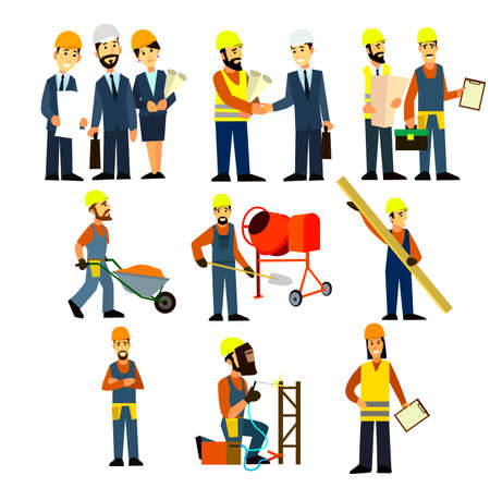 site: Construction Engineering Industrial Workers Project Manager Vector. Civil engineer, architect and construction workers characters group.