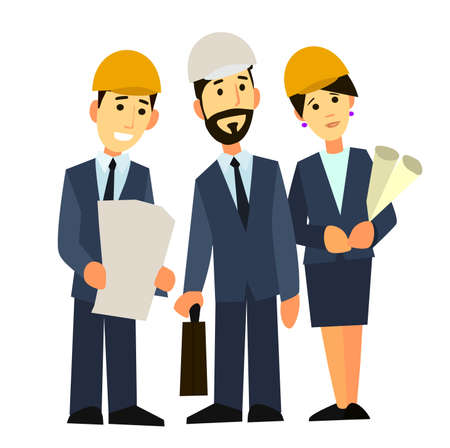 surveying: Business people group on meeting and presentation with construction engineer architect. Looking building model and blueprint plans.Vector illustration. Illustration