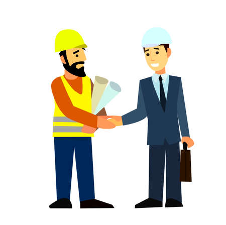 surveying: Construction Engineering Industrial Workers Project Manager.Flat design vector characters.Illustration.