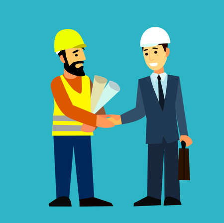 industrial workers: Construction Engineering Industrial Workers Project Manager.Flat design vector characters.Illustration.