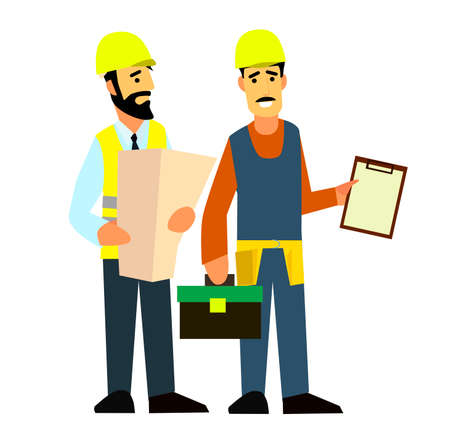surveying: Carpenter talking with foreman or architect. Discussing work plan or blueprint. Flat style modern vector illustration. Illustration