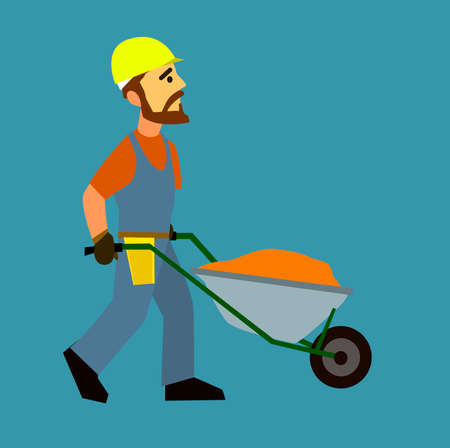 surveying: Builders iron c truck full of sand.Flat design vector characters.Illustration.