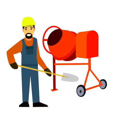 surveying: Builder with a cement mixer .Flat design vector symbols.Illustration.